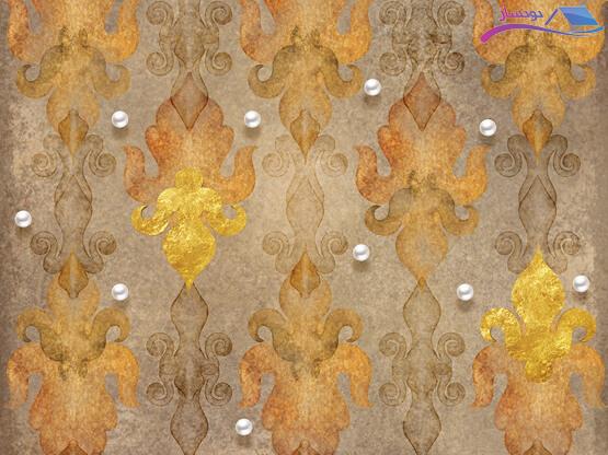 پوستر دیواری طلاکوب طرح دیوار قدیمی و مروارید