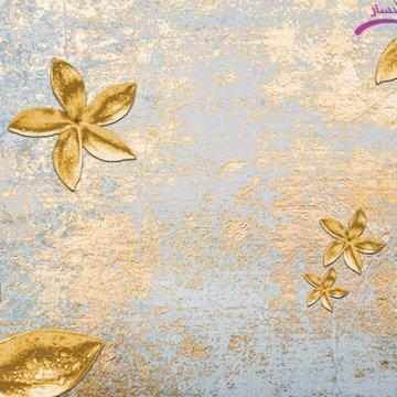 پوستر دیواری طلاکوب طرح گل های طلایی
