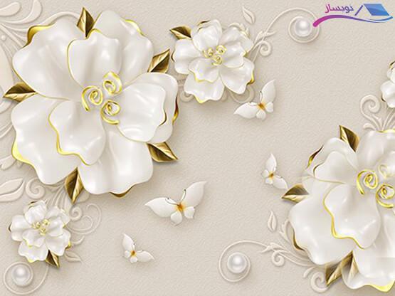 پوستر دیواری طرح گلهای برجسته